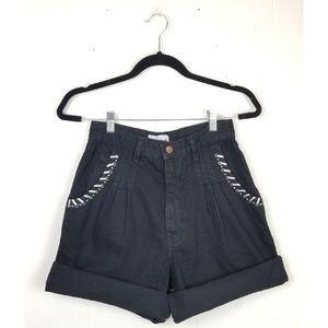 Vintage High Waist Black Silver Trim Jean Shorts
